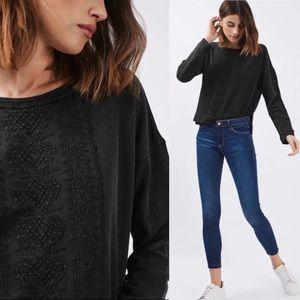 Topshop Washed Black Embroidered Sweatshirt